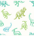 hand drawn dinosaurs seamless background vector image