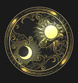 hand drawn sun and moon in engraving oriental vector image vector image