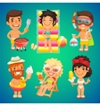 happy cartoon characters on beach vector image