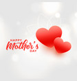 happy mothers day two red hearts background vector image