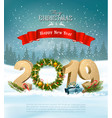 happy new year 2019 background with presents and vector image