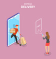 isometric flat concept of express delivery vector image vector image