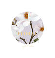 magnolia realistic flower card with gold text vector image vector image