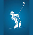 man swinging golf golf players action cartoon vector image vector image