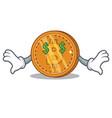 money eye bitcoin coin character cartoon vector image
