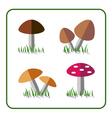 Mushroom icons set 1 vector image
