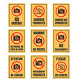 no camera use sign photo prohibited signboard no vector image vector image