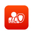 Oken arm and safety shield icon digital red