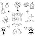 Pumpkins hat skull broom halloween element in vector image vector image