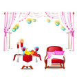 red armchair with pillows wooden table with fresh vector image vector image