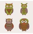 set of decorative cute owls vector image vector image