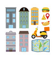 set of delivery elements vector image