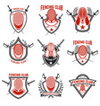 set of fencing club labels fencing swords design vector image