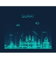 Surat skyline linear style vector image vector image