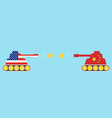 tank painted usa flag and painted china flag vector image