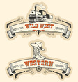 Vintage western and wild west labels isolated vector image vector image