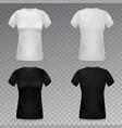 women t-shirt mockup realistic black vector image