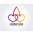Abstract cherry love logo template for vector image
