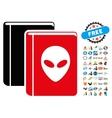 Alien Library Icon with 2017 Year Bonus Symbols vector image vector image