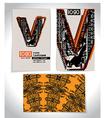 Ancient Business card design LETTER V vector image