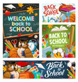 back to college school stationery supplies owl vector image vector image