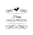 Bat And spider Web Happy Halloween Badge vector image vector image
