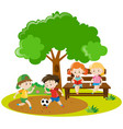 boys playing football and girls reading in park vector image vector image