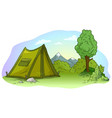 cartoon green camping tent on grass lawn vector image