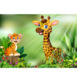 cartoon of the nature scene with a tiger sitting o vector image