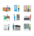 cartoon shopping peoples on store vector image vector image