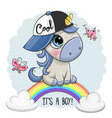 cartoon unicorn is on rainbow vector image vector image
