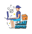 character man with shopping online icons vector image vector image