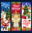 christmas banners santa xmas tree gifts elf vector image vector image
