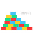 colored stack of sea containers like import vector image