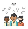 colorful poster of team work with half body men vector image vector image