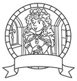 coloring book of queen or princess emblem vector image