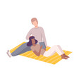 couple in love having picnic in park man and vector image vector image