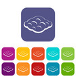 curly cloud icons set flat vector image vector image