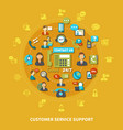 customer service support round composition vector image vector image