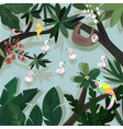 cute happy animal in tropical forest cartoon vector image