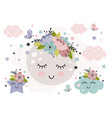 cute poster with beautiful moon and flower vector image vector image