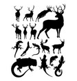 deer and lizard animal detail silhouette vector image
