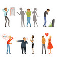 different peoples male and female in panic scenes vector image vector image