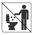 Do not litter in toilet icon 4 vector image