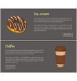 donut and coffee in cup set vector image