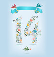 floral number fourteen with ribbon and birds vector image vector image