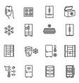 freezer cooler fridge thin line icons set vector image vector image
