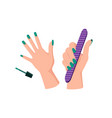 green manicure on female hands with nail file vector image vector image