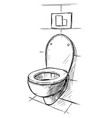 hand drawing of toilet bowl in bathroom vector image