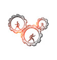 hand drawn business people running in cogwheels vector image